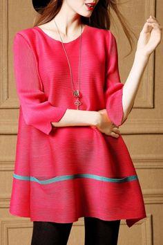 Blusa elegante escote redondo 3/4 diseño del bolsillo de la Mujer