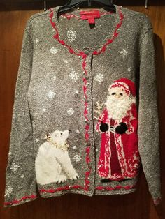 Ugly Christmas Sweater XL Northern Isles Cardigan Santa Polar Bear 2004 | Clothing, Shoes & Accessories, Women's Clothing, Sweaters | eBay!