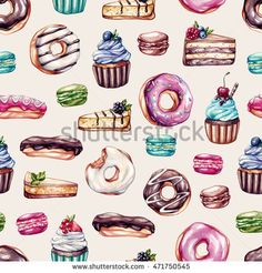 Pattern with sweets. Cupcakes with fruits, macaroons, eclairs, donuts, cheese cake, cake with berries. Watercolor pattern for kitchen, cafe.