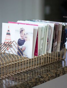 CD rack as a card holder. This is beyond brilliant. 10 awesome thrift store makeovers for under $20!
