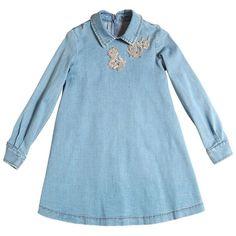 Ermanno Scervino Junior Kids-girls Embellished Denim Dress ($320) ❤ liked on Polyvore featuring kids and denim