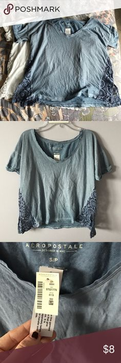 NWT Lace Tshirt Bundle Both very comfortable! Blue is NWT, White is NWOT. Very cute and very versatile. Aeropostale Tops Tees - Short Sleeve