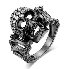 1.5 CT Black Rhodium Plated Sterling Silver Designer Skull Engagement Ring
