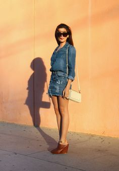 denim, what is fashion, outfit inspiration, how-to style, fashion, beauty, outfit ideas, affordable finds, sazan, barzani, nordstrom, celine, sunglasses, spring 2015, new york fashion week, inspiration, look for less, camel mules, mules, shoe trends, hair ideas, makeup ideas, bold beauty, guess, mini skirt, denim skirt, florian london, los angeles