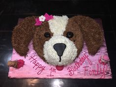 Dog Birthday Cake For Kids Birthday Cakes Girls Kids, Puppy Birthday Cakes, Puppy Birthday Parties, Themed Birthday Cakes, Puppy Party, Cake Kids, 2nd Birthday, Doggy Birthday, Birthday Ideas