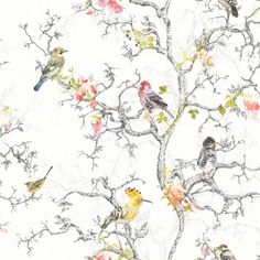 Statement Ornithology Birds Metallic Wallpaper - B&Q for all your home and garden supplies and advice on all the latest DIY trends Metallic Wallpaper, White Wallpaper, Wall Wallpaper, Pattern Wallpaper, Bird Wallpaper Bedroom, Feature Wallpaper, Botanical Wallpaper, Diy Tapete, Decoration Originale