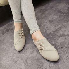 2015 caliente venta primavera Casual mujer zapatos mujer cuero nobuck con cordones planos zapatos hermosos zapatos de punta de la cabeza 375