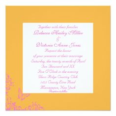 Tangerine Butterfly Silhouette Lesbian Wedding Customized Invitation Cards