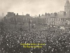 A remarkable photograph showing a huge crowd in Victoria Square on Armistice Day at the end of the First World War. Notice the Union Jacks flying and standing high above the crowd are the tramcar suspension poles. (left centre) Photo Ref: Bolton Lancashire, Armistice Day, Local History, Small Towns, Old Town, First World, Street Photography, Paris Skyline, Nostalgia