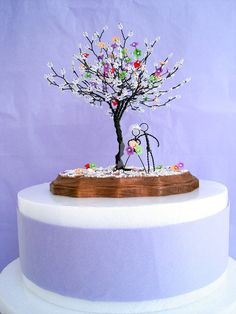 Blossom Wire Sculpture Tree  - Wedding Centerpiece, Anniversary, Engagement, Bridal Shower, Cake Topper, Valentine's gift