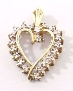 10k Solid Gold Diamond Heart Pendant 21 Diamonds Classic Design Free Shipping #Pendant