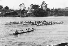Grand parade of waka taua (Maori war canoes) at Ngaruawahia Regatta, date and photographer unknown. Quantity: 1 b&w original photographic print(s). Historical Photos, New Zealand, Boat, Canoes, Google Search, Maori, Historical Pictures, Dinghy, Boats