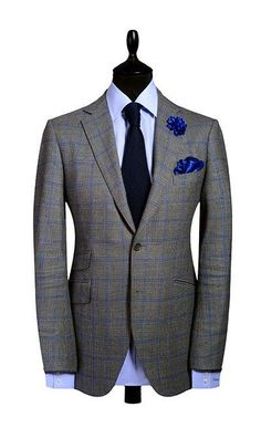 GREY WINDOWPANE  - SUPER 100 WOOL