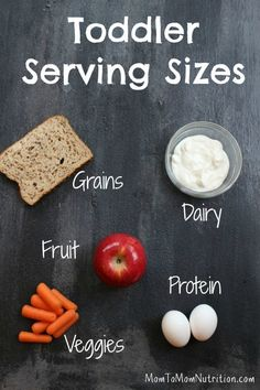 Get the scoop on what and how much your toddler should be eating with pictures of toddler serving sizes. @MomNutrition