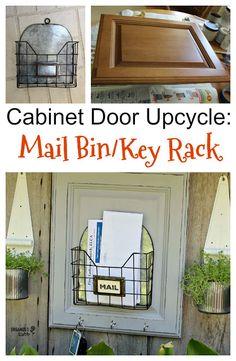 Garage Sale Wire Bin/Cabinet Door Up-cycled As A Mail Organizer Cabinet Door Crafts, Diy Cabinet Doors, Cupboard Doors, Refurbished Furniture, Repurposed Furniture, Furniture Projects, Diy Furniture, Automotive Furniture, Automotive Decor