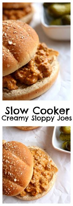 Slow Cooker Creamy Sloppy Joes–homemade sloppy joe sauce and ground beef are simmered in slow cooker and then cream cheese is stirred in as a twist to make the best sloppy joes of your life. Serve the meaty sauce on toasted buns or even slider rolls for an easy weeknight dinner. This recipe can easily be doubled or tripled to serve a crowd. #slowcooker #crockpot