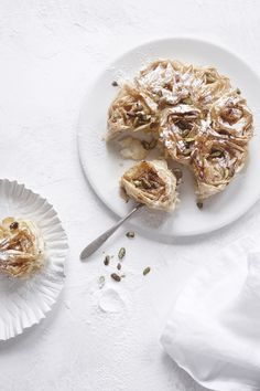 Ruffled fillo pie with pistachios and honey