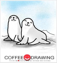 How to Draw Seals Step by Step for Kids Line Drawing, Painting & Drawing, Drawing Ideas, Cute Seals, Learn To Sketch, Kids Part, Zen Design, How To Draw Steps, Coffee Drawing