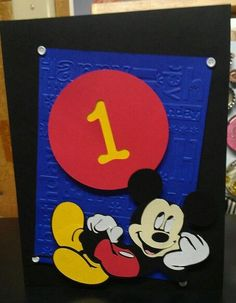 homemeade mickey mouse cards | Happy B'Day Card from Mickey & Friends Cricut Cartridge.