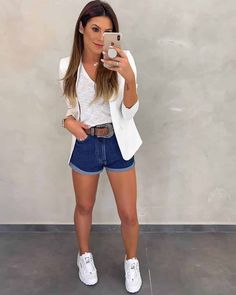 Look Blazer, Blazer And Shorts, Blazer Outfits, Short Outfits, Stylish Outfits, Spring Outfits, Fashion Outfits, Jeans Levi's, Jeans Dress