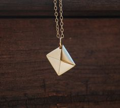 Gold Origami Love Letter Necklace 14K Gold Filled by YQYJewelry, $24.99   so cute!