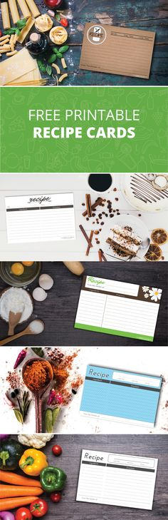 Free Printable Recipe Card DIY Templates. 5 unique designs to choose from.  Each recipe card design is 4x6 inch.