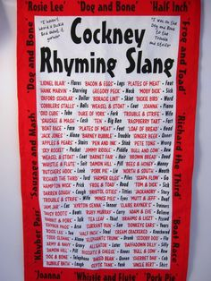 Cockney Rhyming Slang it's getting much easier to comprehend