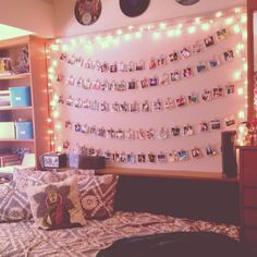 Or you can hang photos on a clothes line with the clothes pins somewhere in your room, super cute!