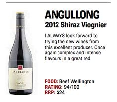 Orange region winemaker, Angullong with their 2012 Shiraz Viognier, receiving 94/100 points from the Daily Examiner's Peter Chapman. #OrangeWineRegion #Wine