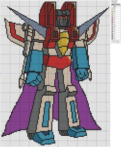Transformers Starscream - free cross stitch pattern