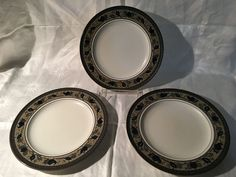 Three (3) Mikasa Intaglio Arabella Salad Plates Preowned MW/DW Safe CAC01 #Mikasa