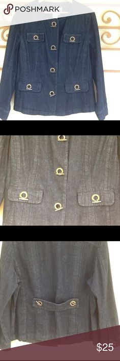 AMX dark denim jacket Fashionable black denim jacket with brass detail buttons. Chest measures 44 and length is 24. Shoulder to shoulder measures 17 inches. Two front pockets. Brass buttons closures. 100% cotton. Machine wash. AMX Jackets & Coats Jean Jackets