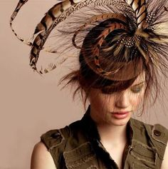 Hugo felt cocktail hat with exotic feathers by alicehartcouture, $245.00 https://www.etsy.com/listing/19117115/hugo-felt-cocktail-hat-with-exotic?ref=shop_home_active