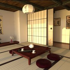 The low table and cushions along with traditional sliding doors and windows would be essential in my tatami room.