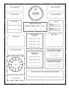 FIFTH GRADE MATH VOCABULARY ENVISION MATH CLOZE WORKSHEETS