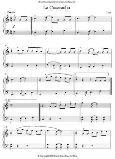 La Cucaracha (Mexico) sheet music for Piano