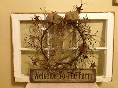 """OLD WINDOW TURNED """"PRIMATIVE"""" RUSTIC DECOR!!! My first one... LOVE IT"""