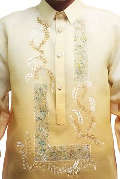 Barong Tagalog Wedding, Custom Embroidery, Embroidery Designs, Modern Filipiniana Gown, Gold Wedding Theme, Wedding Ideas, Gents Kurta, Mens Kurta Designs, Groom Looks