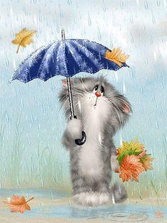 VERY RARE Sad cat under umbrella in rain by Dolotov Russian modern postcard Cute Kittens, Cats And Kittens, Crazy Cat Lady, Crazy Cats, Kitten Cartoon, Sad Cat, Cross Paintings, Cellphone Wallpaper, Cat Drawing
