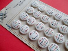 VINTAGE CZECH GLASS BUTTONS HAND PAINTED TEXTURED 24 pcs. UNUSED CARDED  noelhumphrey on eBay.co.uk