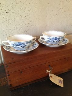 Blue Danube China Japan Set of 2 Soups Bowls w Plates Mint Condition   eBay