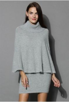 Angora Cape and Skirt Set in Grey - Bottoms - Retro, Indie and Unique Fashion SPECTACULAR