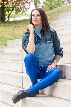 Katya – Adidas Windbreaker, blue spandex leggings