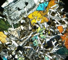"""Bob Gooday on Twitter: """"Dolerite dyke from Arran for today's #ThinSectionThursday. Large feldspar at the top may have snuck in from elsewhere."""""""