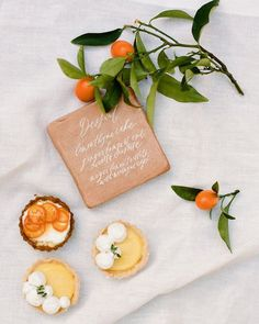 Highlight the dessert offerings at your wedding reception with a menu that's as pretty as the sweets themselves. These ideas—from cards to oversized signs—are perfect for your wedding dessert table menu. Desserts Menu, Wedding Desserts, Wedding Cakes, Raw Bars, Geometric Wedding, Orange Wedding, Martha Stewart Weddings, Dinner Is Served, Dessert Table