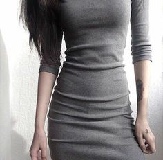 $14,72  Dress -  http://ali.pub/by7sk AliExpress style cool nice clothing clothes fashion dress gray Tumblr black tattoo good look