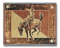 Bust Over Moon Cowboy Bronco Horse Rider Throw Blanket