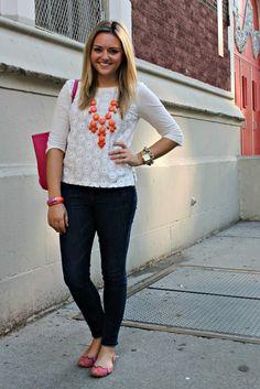 orange bubble necklace w/ white