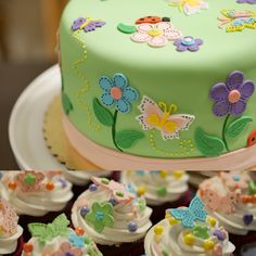 Sweet Butterflies and Flowers Birthday Cake in Fondant #butterflies #flowers #ladybugs #birthday #cakes #forgirls #fondantcakes #springtime #pastels #floral #gardenparty