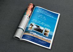#GRAPHISME Création d'une annonce presse dans un magazine pour une plage privée sur la Grande Motte près de Montpellier. www.stevemonroche.com